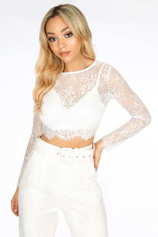 White Long Sleeve Sheer Lace Crop Top