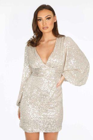 Champagne Puff Sleeve V-Neck Sequin Mini Dress
