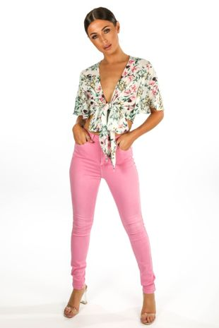 High Waisted Super Stretch Jeans In Fuchsia