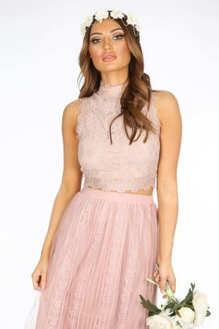 Nude High Neck Sleeveless Lace Crop Top