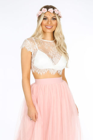 Sheer Lace Crop Top With Bralet In White