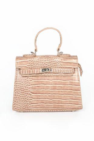 Nude Faux Croc Skin Tote Bag