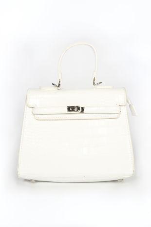 White Faux Croc Skin Tote Bag