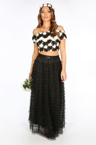 Bridal Maxi Layered Tulle Skirt In Black