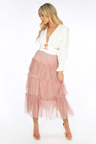 Pink Layered Tulle Midi Skirt