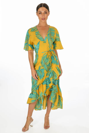 Leaf Print Wrap Front Dress In Mustard