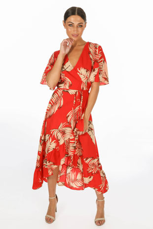 Leaf Print Wrap Front Dress In Red