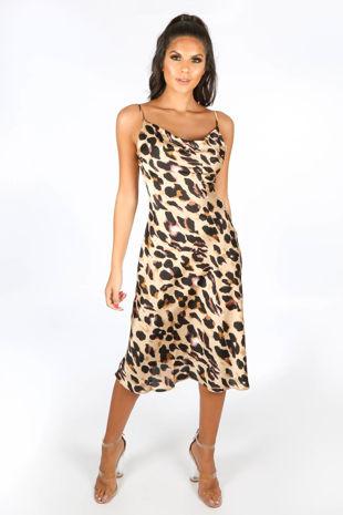 Leopard Print Cowl Neck Midi Dress