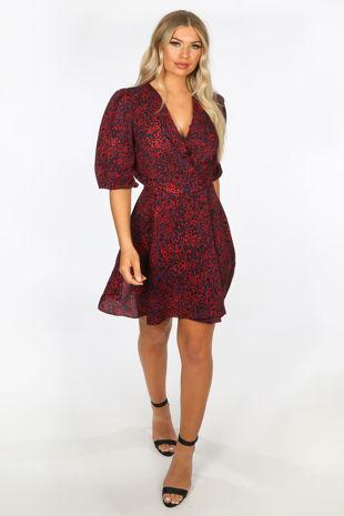 Red Long Sleeve Leopard Print Wrap Look Dress