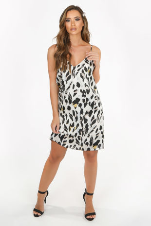 Cream Satin Leopard Print Cami Dress