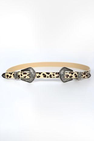 Leopard Print Slim Double Buckle Belt