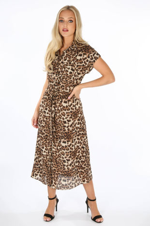 Leopard Print Chiffon Maxi Shirt Dress
