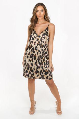 Taupe Satin Leopard Print Cami Dress