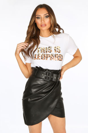 White Leopard Print Slogan T-Shirt