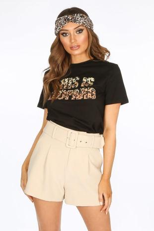 Black Leopard Print Slogan T-Shirt