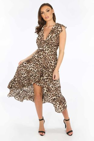 Leopard Print Sleeveless Midi Wrap Dress