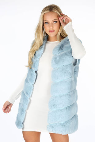 Light Blue Luxury Long Faux Fur Gilet-Copy