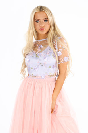 Lilac Embroidered Short Sleeve Crop Top