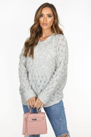 Grey V Neck Textured Over Sized Jumper