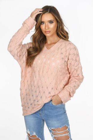 Pink V Neck Textured Over Sized Jumper
