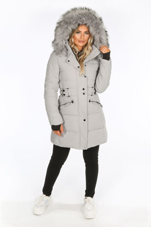 Grey Long Puffer Coat With Matching Faux Fur