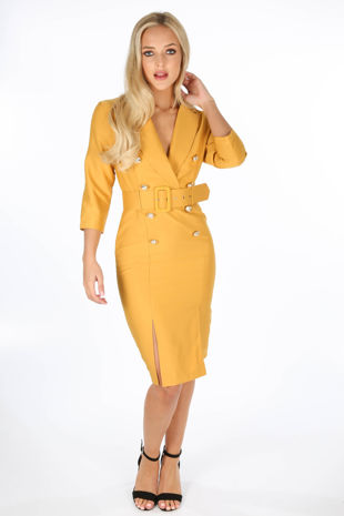 Mustard Long Sleeve Belted Blazer Midi Dress