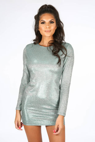 Long Sleeve Metallic Bodycon Dress In Green