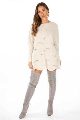 Beige Oversized Jumper Dress With Scallop Hem