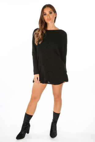 Black Oversized Jumper Dress With Scallop Hem