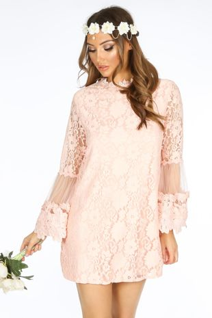 Mesh & Lace Shift Dress In Pink