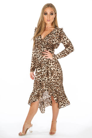 Long Sleeve Leopard Print Wrap Midi Dress