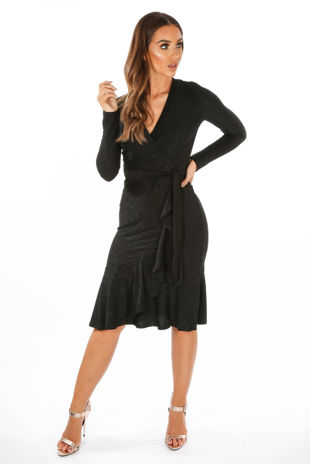 Black Lurex Wrap Midi Dress