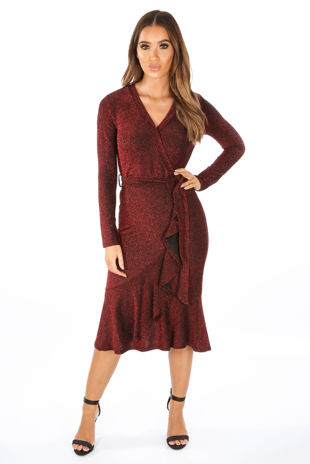 Red Lurex Wrap Midi Dress