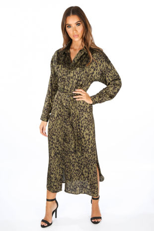 Khaki Long Sleeve Leopard Print Shirt Dress
