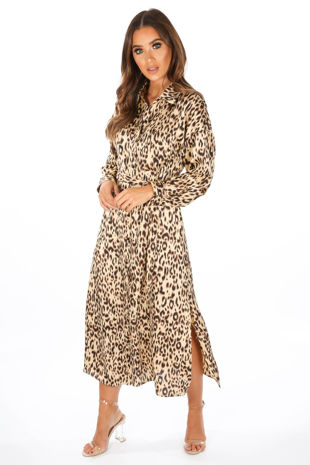 Taupe Long Sleeve Leopard Print Shirt Dress