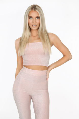 Blush Pink Lurex Bandeau Crop Top