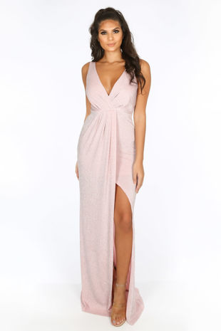 Pink Lurex Maxi Dress With Split
