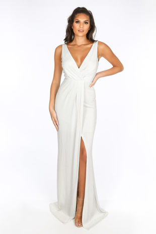 Silver Lurex Maxi Dress With Split