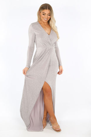 Silver Long Sleeve Lurex Maxi Dress With Split