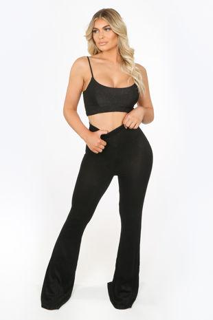 Black Lurex Glitter Flare Trousers