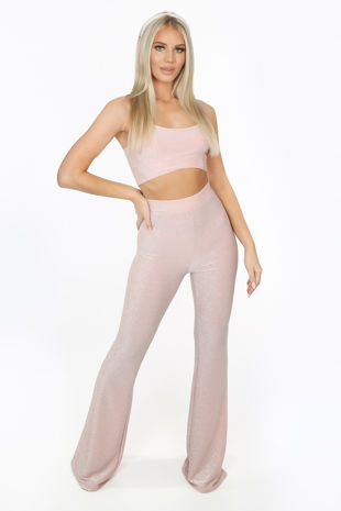 Blush Pink Lurex Glitter Flare Trousers