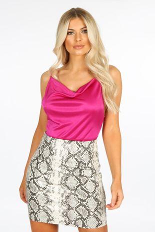 Magenta Cowl Neck Slinky Bodysuit