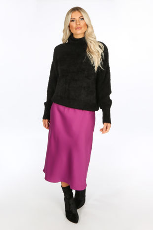 Magenta Satin Bias Midi Skirt