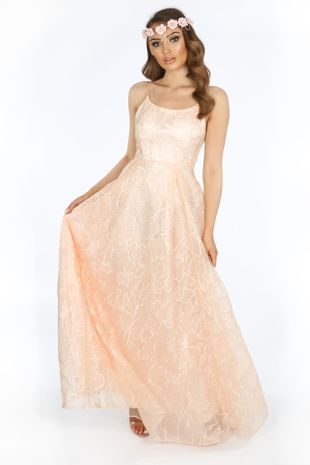 Bridal Pink Floral Embroidered Lace Maxi Dress