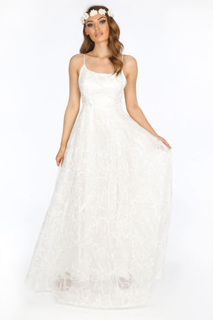 Bridal White Floral Embroidered Lace Maxi Dress