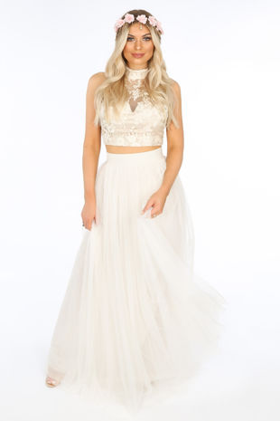 Full Length Maxi Tulle Skirt In White