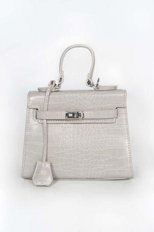 Grey Mini Faux Croc Skin Tote Bag