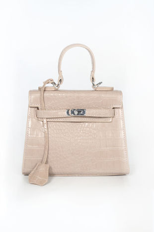 Nude Mini Faux Croc Skin Tote Bag