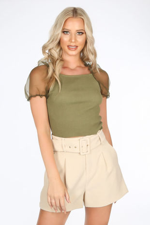 Khaki Organza Sleeve Knitted Crop Top