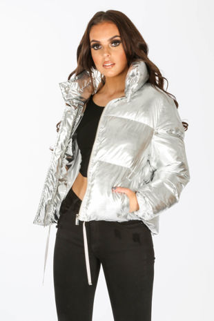Silver Padded Bomber Jacket
